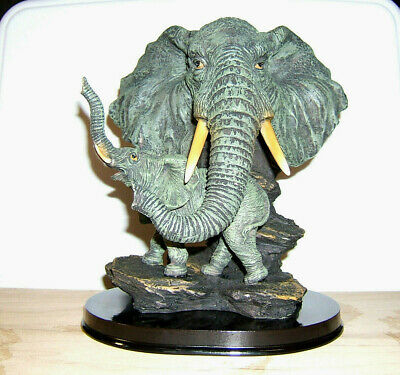 """Elephant Bust With Baby On Rock, 9-1/2"""" Tall X 8"""" Wide Acrylic Resin New Mint."""