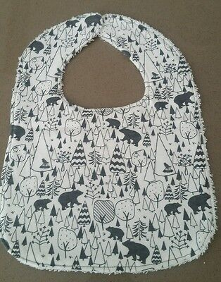Handmade Baby Dribble Bib Forest Animals. Soft Cotton Jersey with Towel Back
