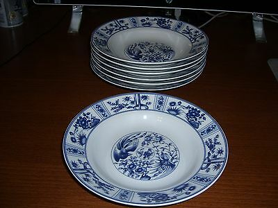 Set Of 7 Blue Heron Made In China Rimmed Soup Bowls