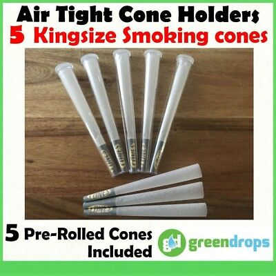 5x KINGSIZE CONE HOLDERS AIR TIGHT * PRE-ROLLED SMOKING CONES * ROLLING PAPERS