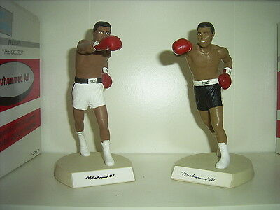 Muhammad Ali - SIGNED Pair of Salvino Black and White Trunks Figurines - COA