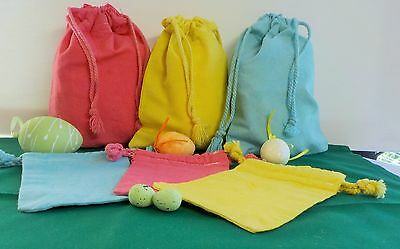 6 Hand Dyed Cotton Calico Drawstring Bags Great For Your Easter Treats