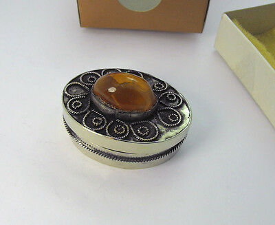 Vintage Made in Turkey Trinket Box Sterling Silver Filigree & Turkish Quartz