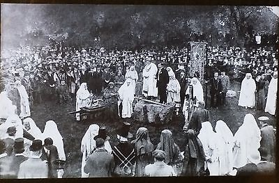 Gorsedd of Druids at Aberystwyth, Wales, Antique Magic Lantern Glass Photo Slide