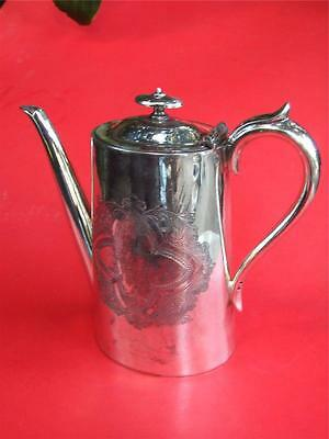Antique Engraved  Silver Coffee Pot Made in England 1900's
