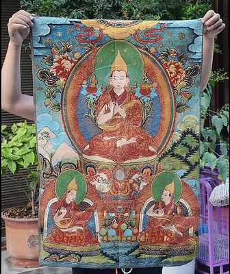 "36"" Tibet Buddhism Silk Cloth Tsongkhapa Buddha Thangka Painting Mural 03"