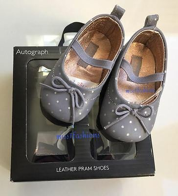 BABY GIRLS CUTE LEATHER PRAM SHOES AGE 3-6 months GREY SPOTTED M&S AUTOGRAPH