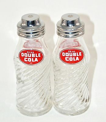 2 Vintage Double Cola Salt & Pepper Shakers  pour tops 4.5 inches tall