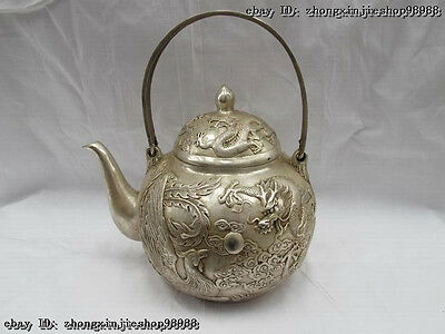 China White Bronze Silver Auspicious Dragon phoenix Wine Pot Flagon teapot