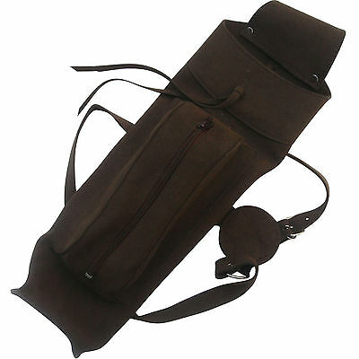 NEW Traditional Suede Leather Back Arrow Quiver with Front Large Zipper Pocket,