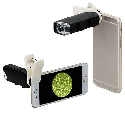 60X-100X Optical Zoom Mobile Phone LED Microscope Lens with Universal Clamp  WP