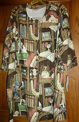 "Dog ""Library Print"" Button Front Smock Coat,Size XL, By Susan McDuffie, USA, NWT"