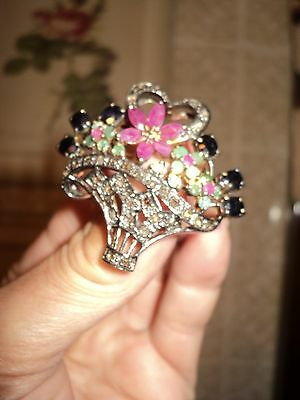 Vintage BROOCH BASKET*SILVER Gold P.*NATURAL DIAMOND EMERALD RUBY BLUE SAPHIRE