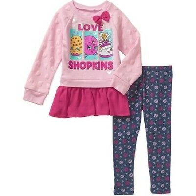 Shopkins  Girls 2 piece Long Sleeve Shirt Outfits  Sizes-5 or 6 NWT