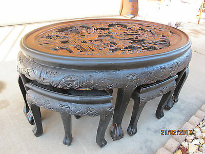 Antique Chinese Carved Teak Oval Coffee Table with 6 Stools Warriors Dragon