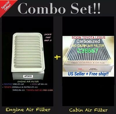 Engine&Carbonized Cabin Air Filter 09-18 Corolla Yaris 09-13 Matrix 1.8L only
