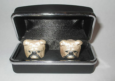Vintage Unique Bulldog Cuff Links Hand Painted Ceramic or  Porcelain