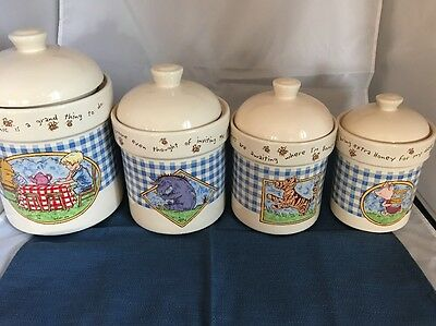 DISNEY Winnie The Pooh -  4 Piece Canister Set, Tigger, Piglet,Eeyore Excellent