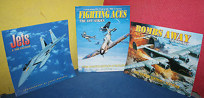 Lot of 3 Aviation Themed Calendars from 1999, 2000, & 2001