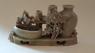 Chinese carved green soapstone vintage Victorian oriental antique brush pot vase