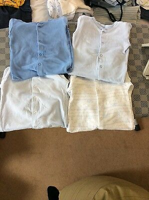 4 blue sleepsuits 3-6 months