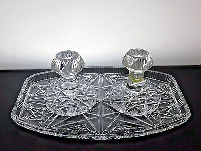 Vintage 2 Crystal Cut Glass Candle Holders Stands Candlesticks With Crystal Tray