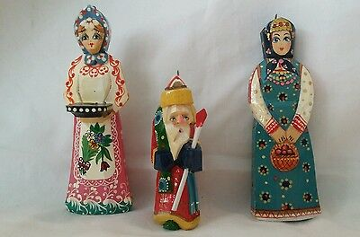 Vintage Russian Hand Carved Painted Wooden Christmas Ornaments Santa Signed