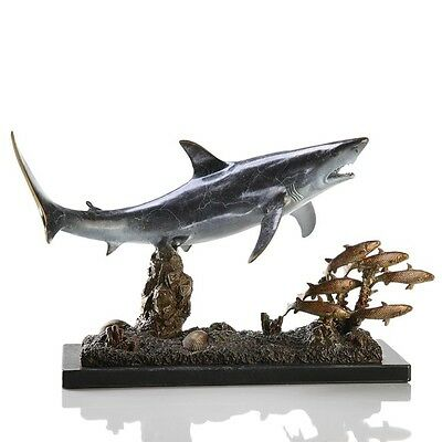 Great White Shark Swims w Prey - Fish - Nautical Beach Sea Brass SPI 30969
