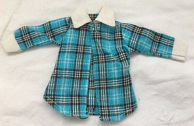 Vintage Barbie Doll Clone Knock Off Outfit TURQUOISE PLAID Top Blouse