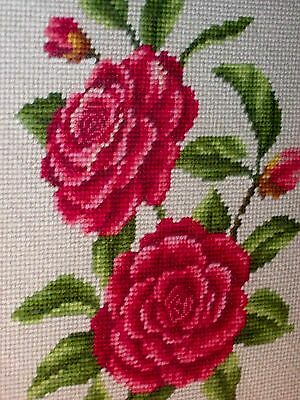 VINTAGE COMPLETED NEEDLEPOINT ART Red Roses & Green Leaves Bouquet STILL LIFE