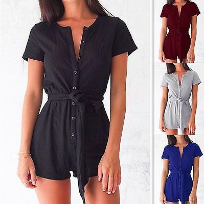Womens Summer Holiday Mini Playsuit Ladies Jumpsuit Beach Shorts Dress 6-14