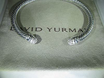 Authentic David Yurman Silver 5Mm Cable Classic Pave Diamond Bracelet Dy Pouch