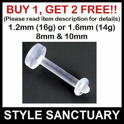Bioflex Bioplast Clear Labret Retainer Flexible Bar Lip Monroe Tongue Ear Stud