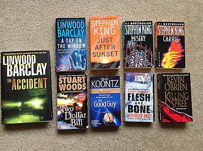 Lot of 9 Thriller/Suspense Novels Stephen King Linwood Barclay Dean Koontz