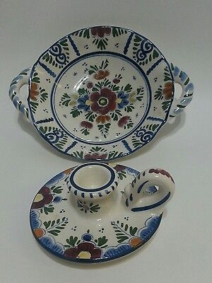 Delft Poly Ploychrome? Hand painted Candleholder and matching handled bowl
