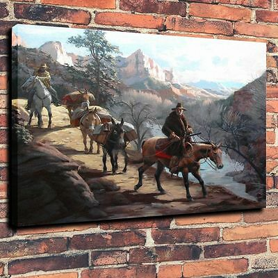 "HD Art Canvas Print Oil Painting ,Western, Travelers, Canyons , 16""x20"""