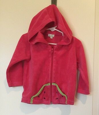 LE TOP Toddler Girls Watermelon Hot Pink Velour Hoodie, SZ 24mo