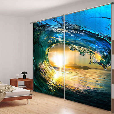 Surf Wave Beach 3D Blockout Photo Mural Printing Curtains Draps Fabric Window
