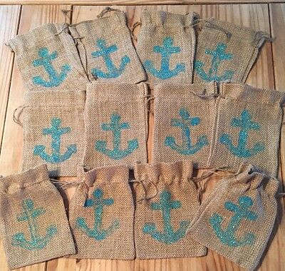 12 Burlap Bags 5 x 7 Hand Painted Drawstring Nautical Teal Blue Anchor Party