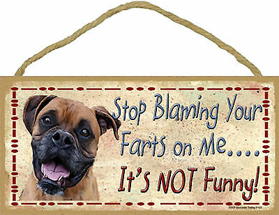 Boxer Stop Blaming Your Farts on Me It's not Funny Wood Dog Sign Made in USA