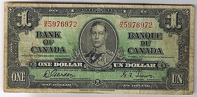1937 Bank of Canada $1 Note H/A Prefix Narrow Signature Panels Gordon Towers VF