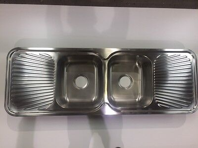 Kitchen Sink stainless steel double bowl centre 1380mm x 480mm x 180mm (DBS3)