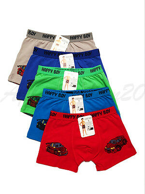 5pc Size 7 6-8 years old Comfort Cotton Boys Boxers Briefs Cars Kids Underwear