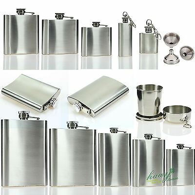 Stainless Steel Liquor Whiskey Vodka Alcohol Pocket Hip Flask Gift + Funnel Cups