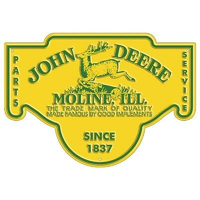 NEW JOHN DEERE Tractor Metal Farm Barn Equipment Vintage-Look Sign 1837 Moline