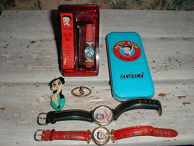 3 Betty Boop Watch/Watches 2 Pins *Estate Lot*