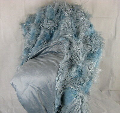 WALDORF Luxe Luxury Throw Blanket Faux-Fur Suede Blue Grey Mother's Day 72x54cm