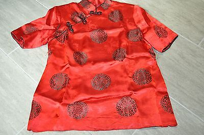 Chinese Women's Silk Tops Cheongsam RED