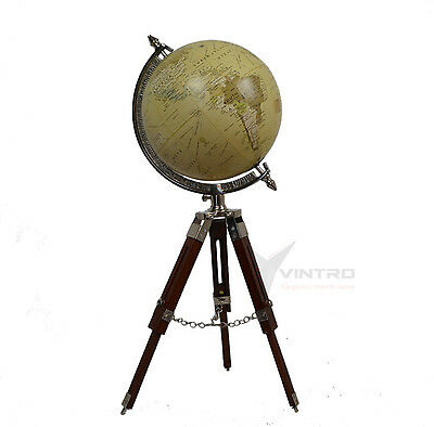 World Globe Antique Tripod wooden Vintage Globe Retro Home Decor