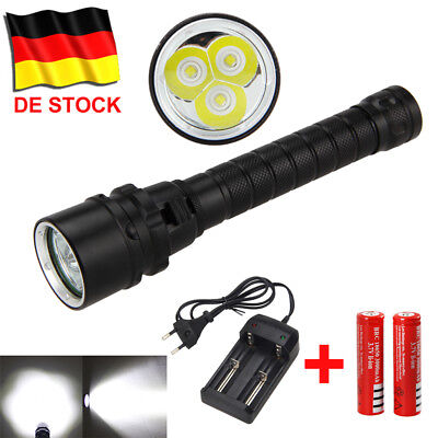 1/2 Set 12000Lm 3x XML L2 LED Diving Taschenlampe Tauchlampe bis 100m Flashlight
